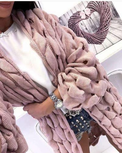 cardigan donna in misto lana lavorato treccia larga con fori made in italy tg unica