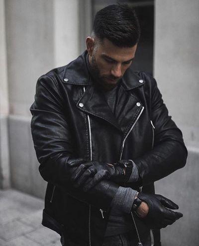 giacca uomo in eco pelle modello a chiodo imbottita con lana interna tg m l xl xxl