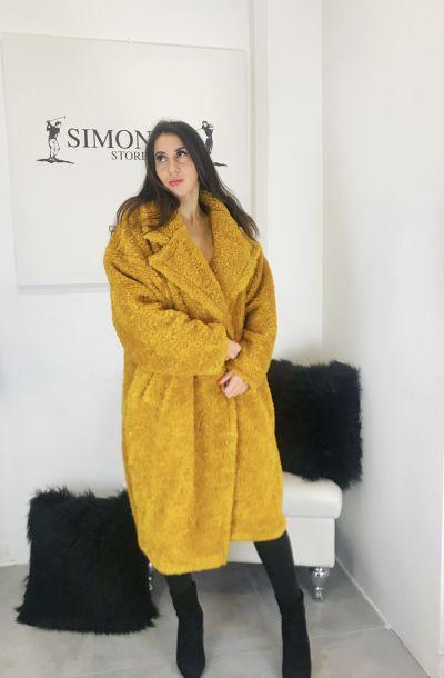 teddy coat cappotto donna modello oversize tessuto orsetto made in italy tg unica