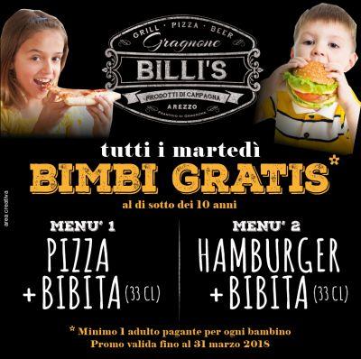 billis hamburger arezzo promo bambini