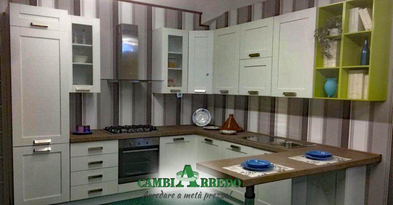 Offerta Cucina Composizione ad angolo con penisola Parma - Occasione Cucina in Svendita Completa