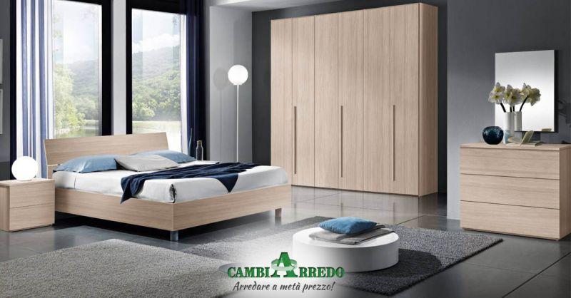 Offerta Camera matrimoniale colore olmo/bianco Piacenza - Occasione Camera completa con armadio con anta battente Parma