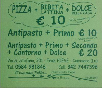offerta promozione menu dieci euro viareggio camaiore pietrasanta