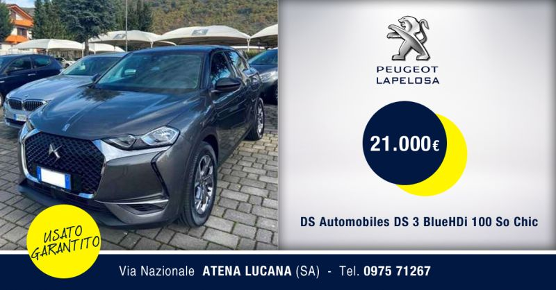 PEUGEOT LAPELOSA SRL- Offerta DS Automobiles DS 3 BlueHDi 100 So Chic Atena Lucana