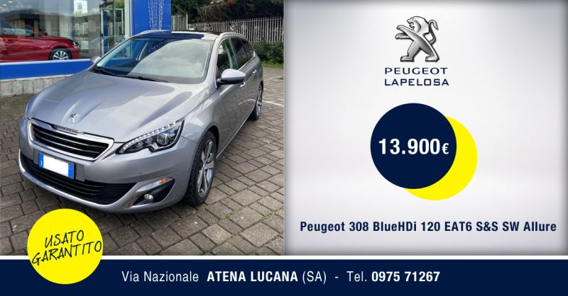 PEUGEOT LAPELOSA SRL - Offerta Peugeot 308 BlueHDi 120 EAT6 S&S SW Allure Atena Lucana