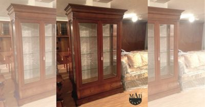 promozione vendita mobili e arredamento classico per soggiorno offerta vetrina in noce como