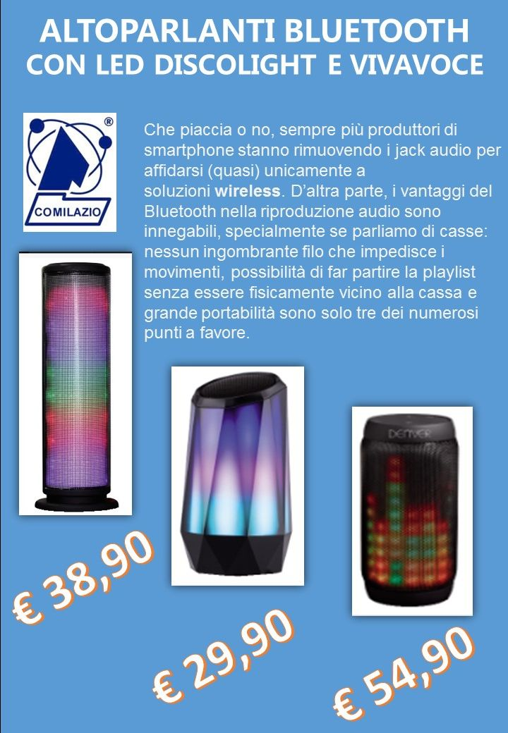 COMILAZIO OFFERTE CASSE  Bluetooth - occasione idea regalo di natale casse bluetooth roma