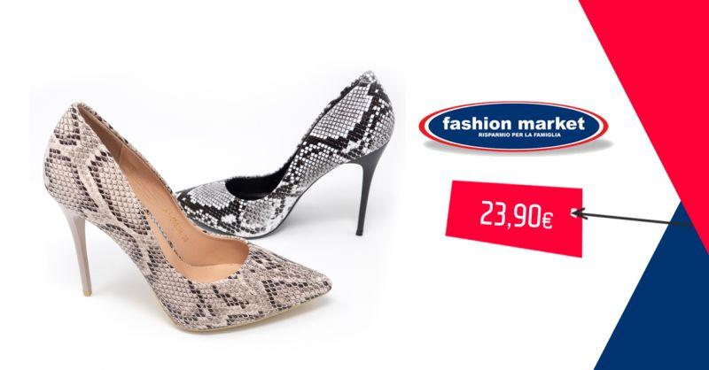 Fashion Market offerta scarpa con tacco a spillo - occasione decollete scarpe donna pitonata