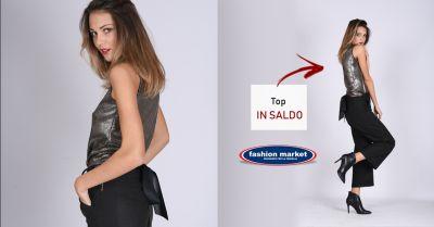 fashion market offerta top metallizzato color silver occasione vestito lurex argento