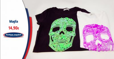 fashion market offerta t shirt donna con strass occasione maglia donna con teschio
