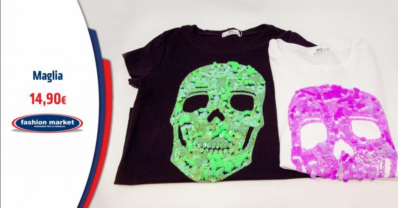 FASHION MARKET Offerta T shirt Donna con Strass - Occasione Maglia Donna con Teschio