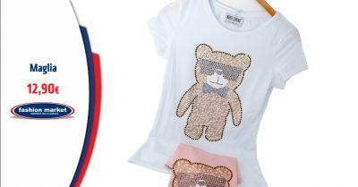 offerta t shirt donna stampa teddy in paillettes occasione maglia donna con paillettes