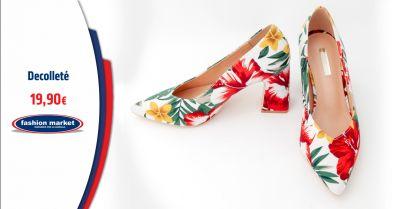fashion market offerta decollete stampa fiori occasione scarpe donna a stampa floreale