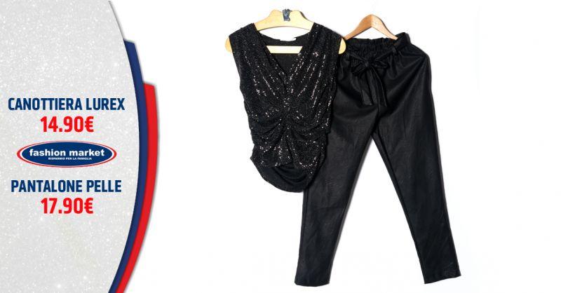 Offerta Canotta in Lurex - Occasione Pantaloni Rock di pelle Donna