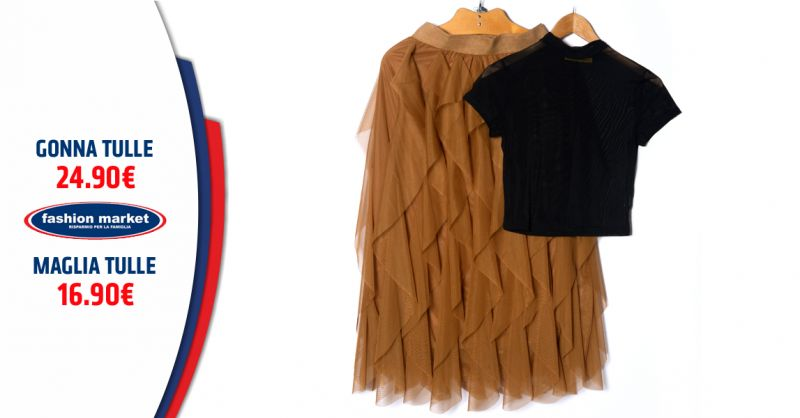 Offerta outfit Gonna in Tulle lunga - Occasione Set Maglia e Gonna in Tulle
