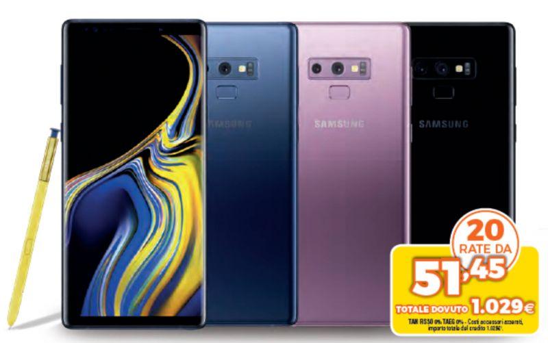 offerta vendita galaxy note 9 - promozione galaxy note 9 android da elettrovalcellina