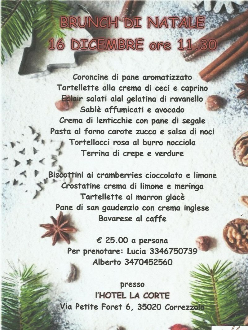 menu brunch natalizio - brunch correzzola