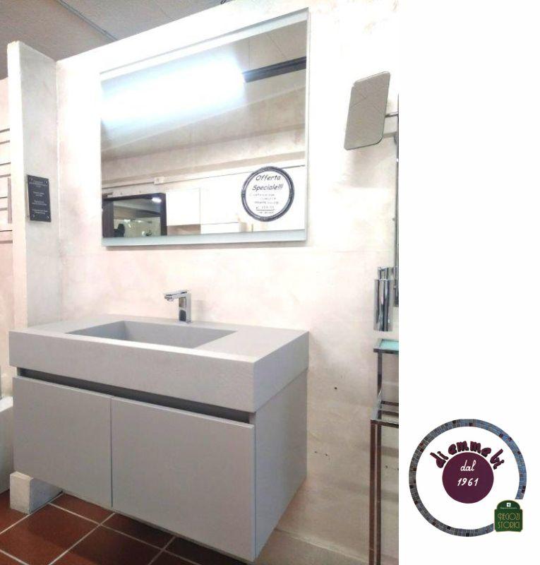 DI EMME BI offerta lavabo in resina ideal -promozione composizione ideal con specchio fasce led