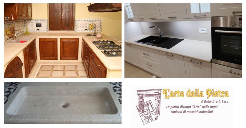 L'ARTE DELLA PIETRA - offerta piani cucina pietra su misura -occasione lavelli pietra su misura