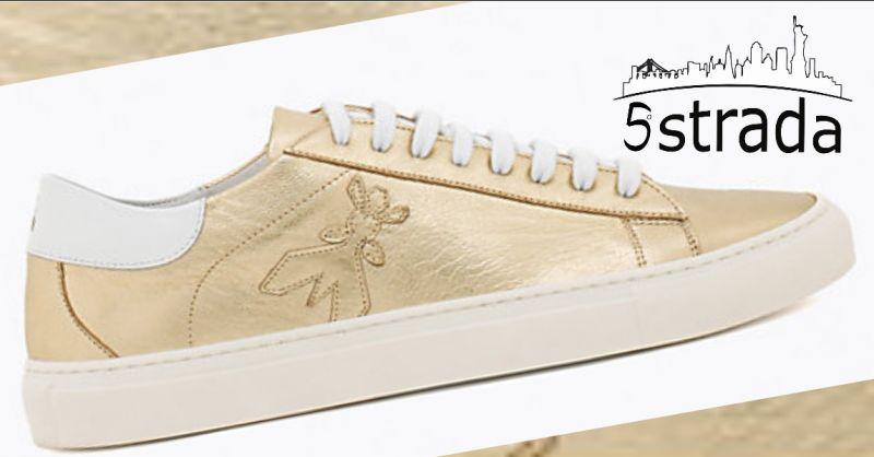 offerta Sneakers Donna in pelle laminata ORO Patrizia Pepe -5a strada shop a405d088cad