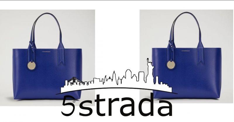offerta borsa donna emporio Armani modello shopping in micro dollaro con charm logato-5a strada