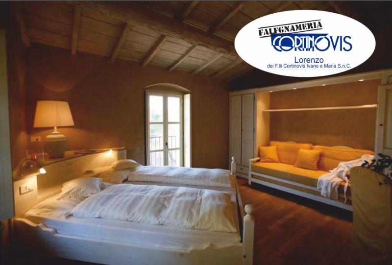 FALEGNAMERIA CORTINOVIS offerta camera matrimoniale - letto con testata contenitore ad angolo