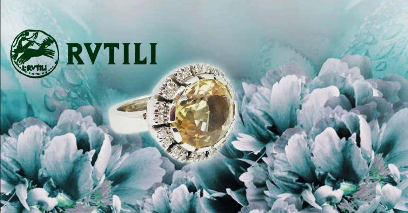 Offerta Anello in Oro e quarzo Citrino Roma - Occasione Anello Oro e diamanti Roma Balduina