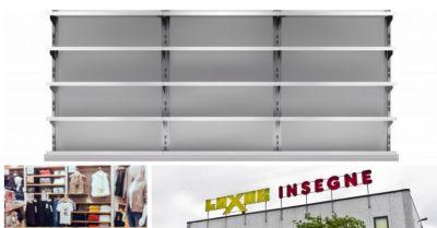 luxor insegne cagliari offerta scaffalature componibili arredo negozi allestimenti espositivi
