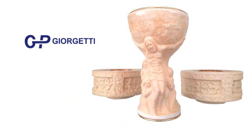 offerta calice crocifissione da altare loreto - occasione portacandele da altare 6,5 cm loreto