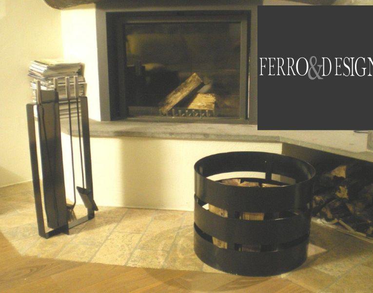 FBB FERRO e DESIGN offerta accessori camino in ferro - promozione porta attrezzi per camino