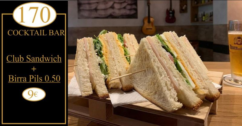 170 Bar RistoPub Cocktail Quartu - offerta club sandwich piu  birra pils Thurn and Taxis