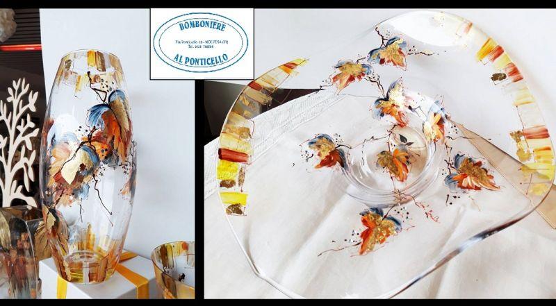BOMBONIERE AL PONTICELLO Offerta vendita vasi piatti dipinti a mano in vetro pezzi unici