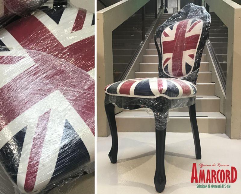 AMARCORD offerta sedia rivisitata stile union jack - promozione sedia ristrutturata london uk