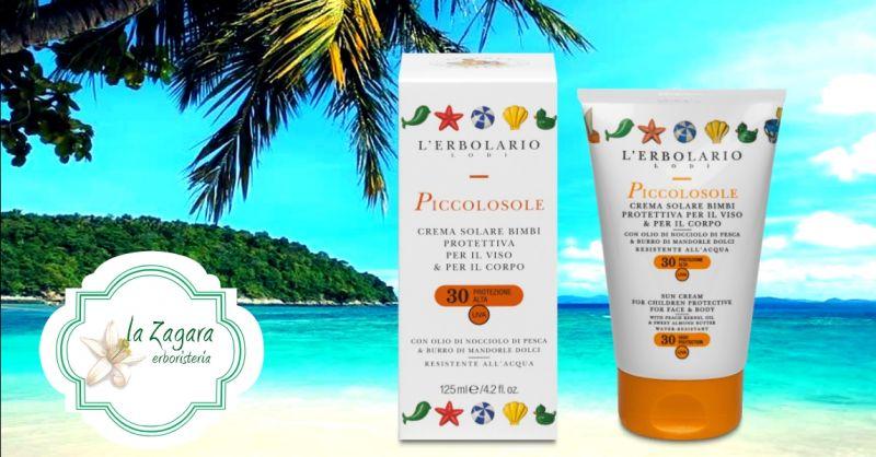 LA ZAGARA ERBORISTERIA offerta vendita online crema solare protettiva bimbi Erbolario