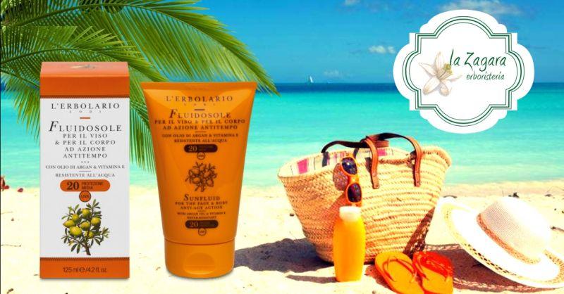 offerta vendita crema solare viso corpo - occasione acquisto fluido solare anti tempo Erbolario