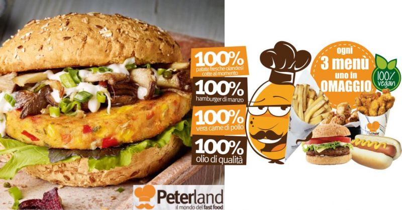 PETERLAND FAST FOOD CAGLIARI offerta menu panino patatine olandesi bibita