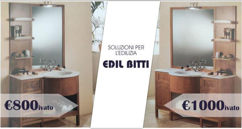 EDIL BITTI - offerta mobile bagno in legno color noce con lavabo