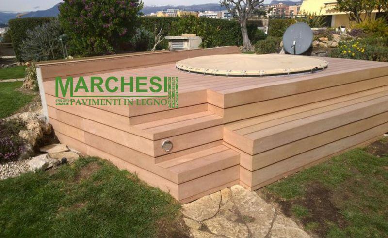MARCHESI PAVIMENTI IN LEGNO vasca idromassaggio esterno - promozione pavimentazione greenwood