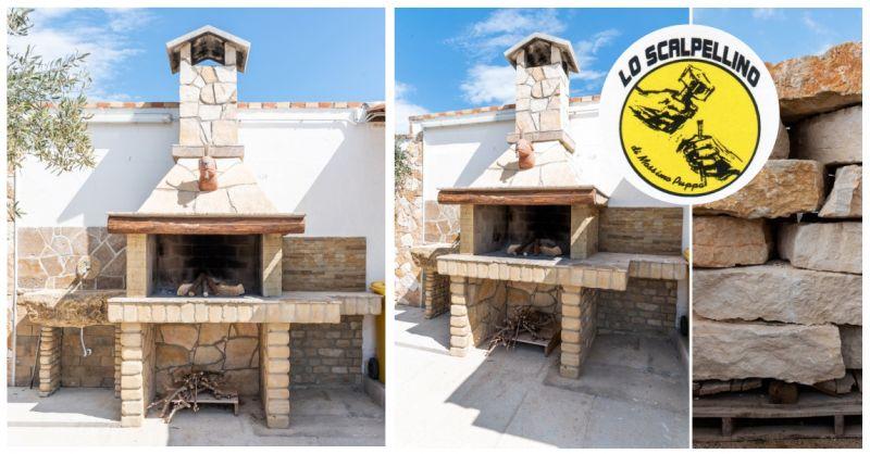 LO SCALPELLINO - offerta realizzazione barbecue e caminetti in pietra su misura spazi esterni