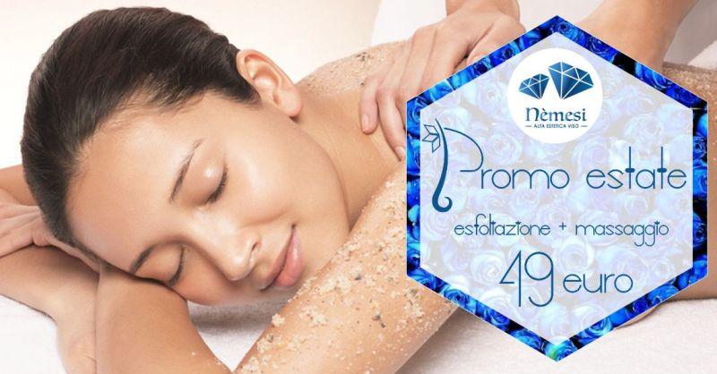 Nemesi studio estetico - promozione trattamento esfoliazione corpo massaggio idratante