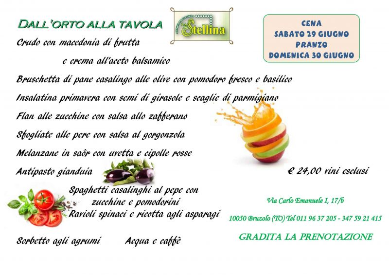 offerta menu degustazione antipasti di frutta e verdura