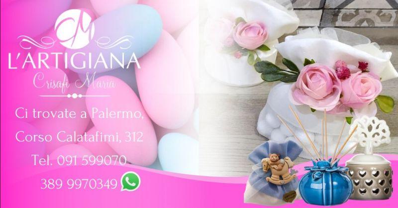ARTIGIANA CRISAFI Offerta vendita bomboniere artigianali per battesimi e matrimoni Palermo