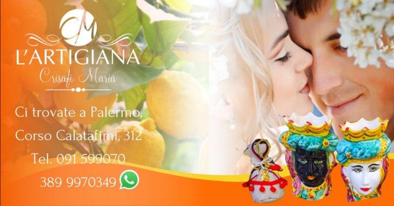 Offerta bomboniere matrimonio stile siciliano - occasione ceramiche artigianali sicilia Palermo