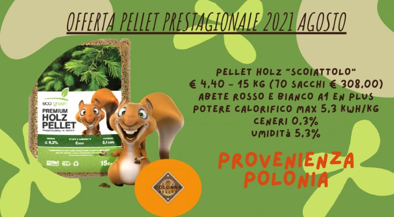Vendita pellet HOLZ scoiattolo a Novara a Verbania a Milano a Varese – offerta pellet di abete rosse e bianco a Novara a Verbania a Milano a Varese
