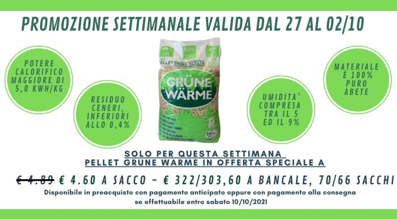 Offerta pellet GRUNE WARME in offerta a Novara a Milano a Verbania a Varese – Occasione pellet di alta qualità scontato a Novara a Milano a Verbania a Varese