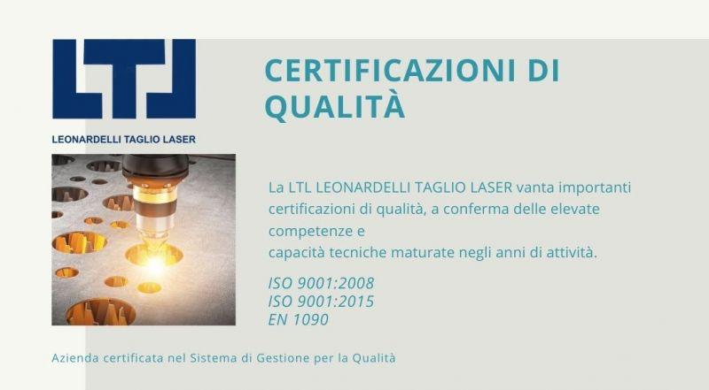 Offerta azienda taglio laser certificata a Trento – occasione Azienda certificata nel Sistema di Gestione per la Qualità a Trento