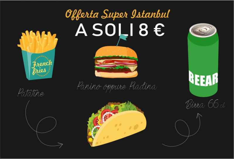 SUPER INSTANBUL offerta menu panino birra patatine - promo menu piadina birra patatine sesto