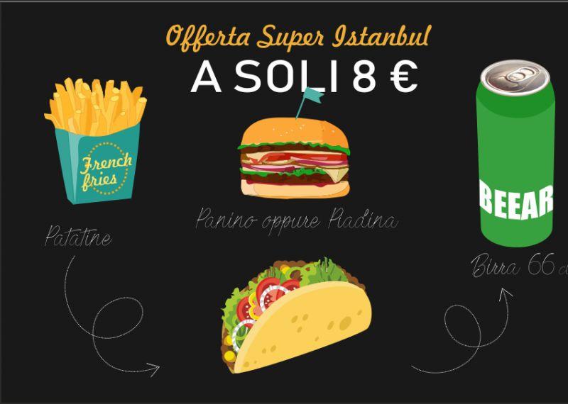 SUPER ISTANBUL offerta menu panino birra patatine - promo menu piadina birra patatine sesto