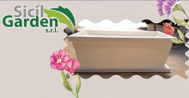 Offerta fioriera con sottovaso Ragusa - occasione fioriera in resina da esterno vittoria