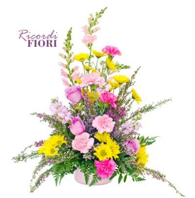 ricordi fiori composizione funebre interno chiesa allestimento camere ardenti